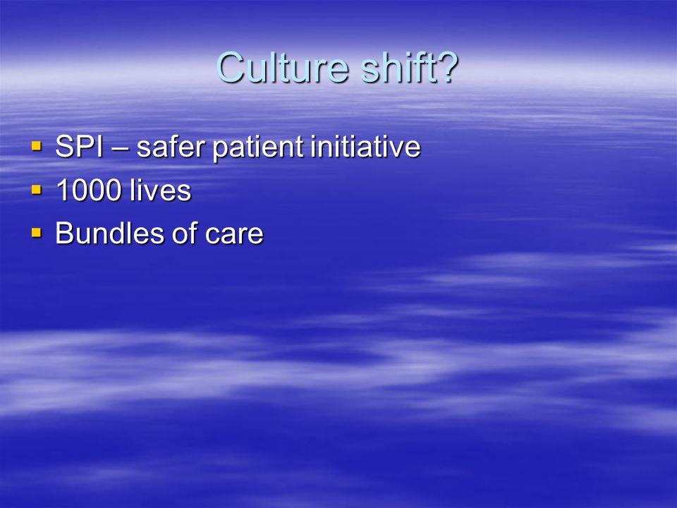 Culture shift? SPI – safer patient initiative SPI – safer patient initiative 1000 lives 1000 lives Bundles of care Bundles of care