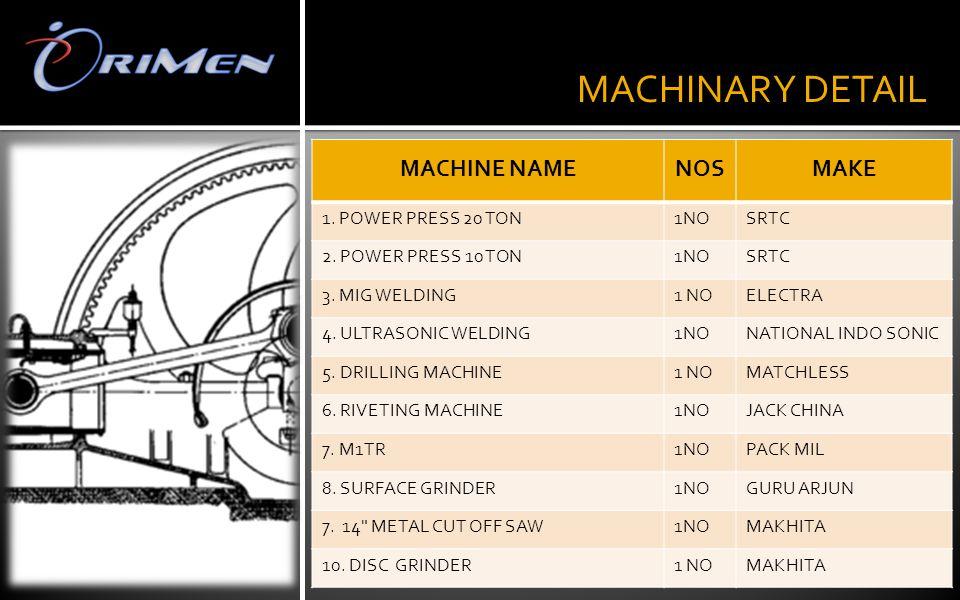 . MACHINARY DETAIL MACHINE NAMENOSMAKE 1. POWER PRESS 20 TON1NOSRTC 2. POWER PRESS 10 TON1NOSRTC 3. MIG WELDING1 NOELECTRA 4. ULTRASONIC WELDING1NONAT