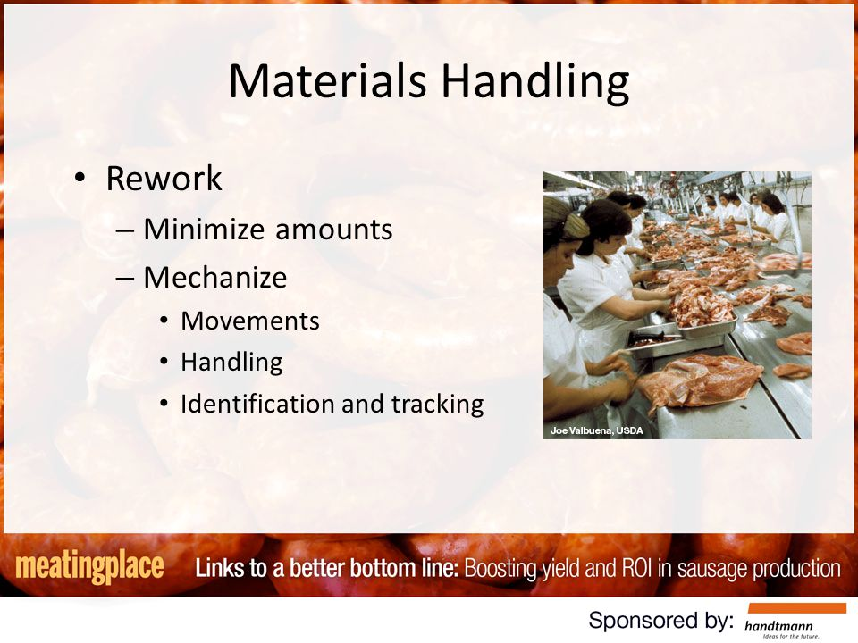 Materials Handling Rework – Minimize amounts – Mechanize Movements Handling Identification and tracking