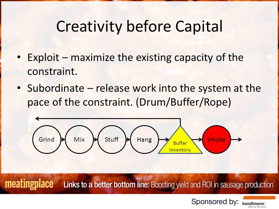 Creativity before Capital Exploit – maximize the existing capacity of the constraint.