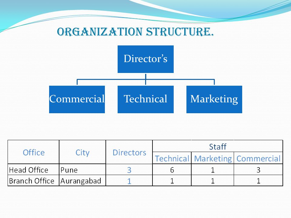 Organization structure. Directors CommercialTechnicalMarketing