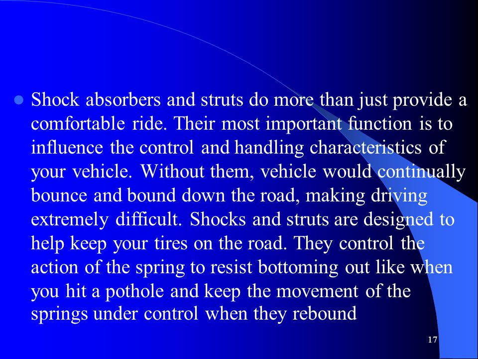 How Shocks Works Shocks provide resistance by forcing hydraulic fluid (oil) through valves in the piston as it moves up and down.