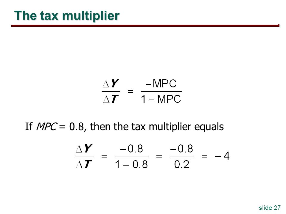 slide 27 The tax multiplier If MPC = 0.8, then the tax multiplier equals