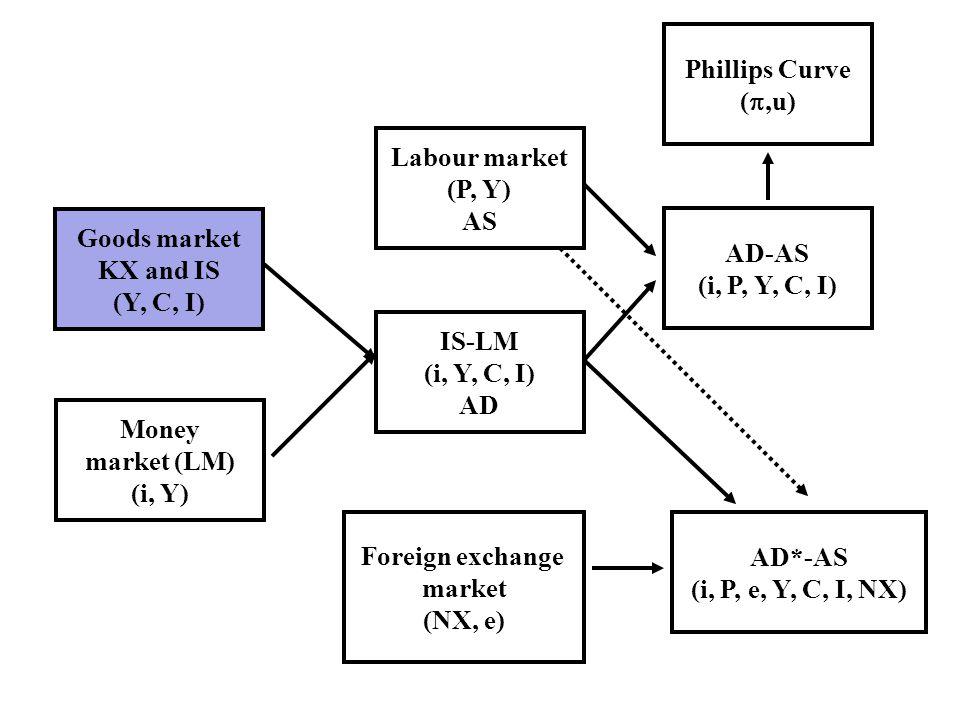 Goods market KX and IS (Y, C, I) Money market (LM) (i, Y) IS-LM (i, Y, C, I) AD Labour market (P, Y) AS AD-AS (i, P, Y, C, I) Foreign exchange market (NX, e) AD*-AS (i, P, e, Y, C, I, NX) Phillips Curve (,u)