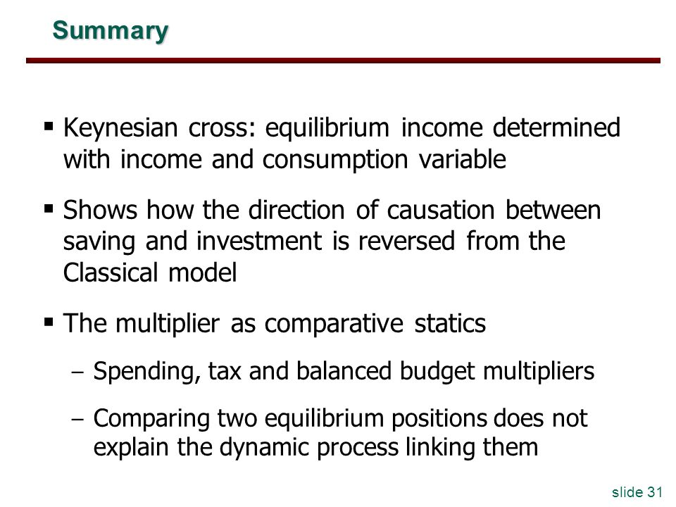 slide 31 Summary Keynesian cross: equilibrium income determined with income and consumption variable Shows how the direction of causation between saving and investment is reversed from the Classical model The multiplier as comparative statics – Spending, tax and balanced budget multipliers – Comparing two equilibrium positions does not explain the dynamic process linking them