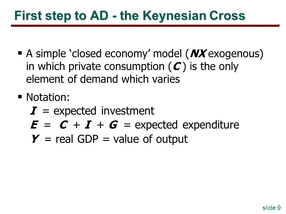 slide 9 First step to AD - the Keynesian Cross A simple closed economy model (NX exogenous) in which private consumption (C ) is the only element of demand which varies Notation: I = expected investment E = C + I + G = expected expenditure Y = real GDP = value of output