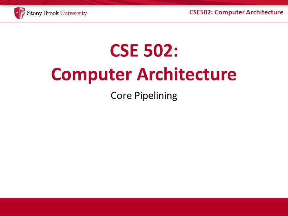 CSE502: Computer Architecture Example (2) A: R1 = R2 + R3 B: R4 = R5 + R6 C: R1 = R1 * R4 D: R9 = LD 0[R1] E: BEQZ R7, +32 F: R4 = R7 - 3 G: R1 = R1 + 1 H: R4 ST 0[R9] J: R1 = R9 – 1 K: R3 ST 0[R1] AB Cycle 1: C 2: D 3: 4: 5: EFG IPC = 10/7 = 1.43 HJ 6: K 7: AB C D E FG HJ K