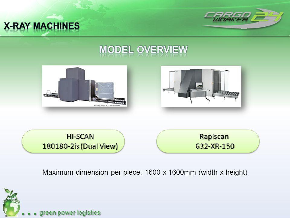 … green power logistics HI-SCAN 180180-2is (Dual View) HI-SCAN Rapiscan632-XR-150Rapiscan632-XR-150 Maximum dimension per piece: 1600 x 1600mm (width