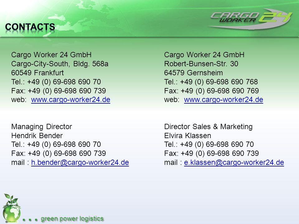 … green power logistics Cargo Worker 24 GmbH Cargo-City-South, Bldg. 568a 60549 Frankfurt Tel.: +49 (0) 69-698 690 70 Fax: +49 (0) 69-698 690 739 web: