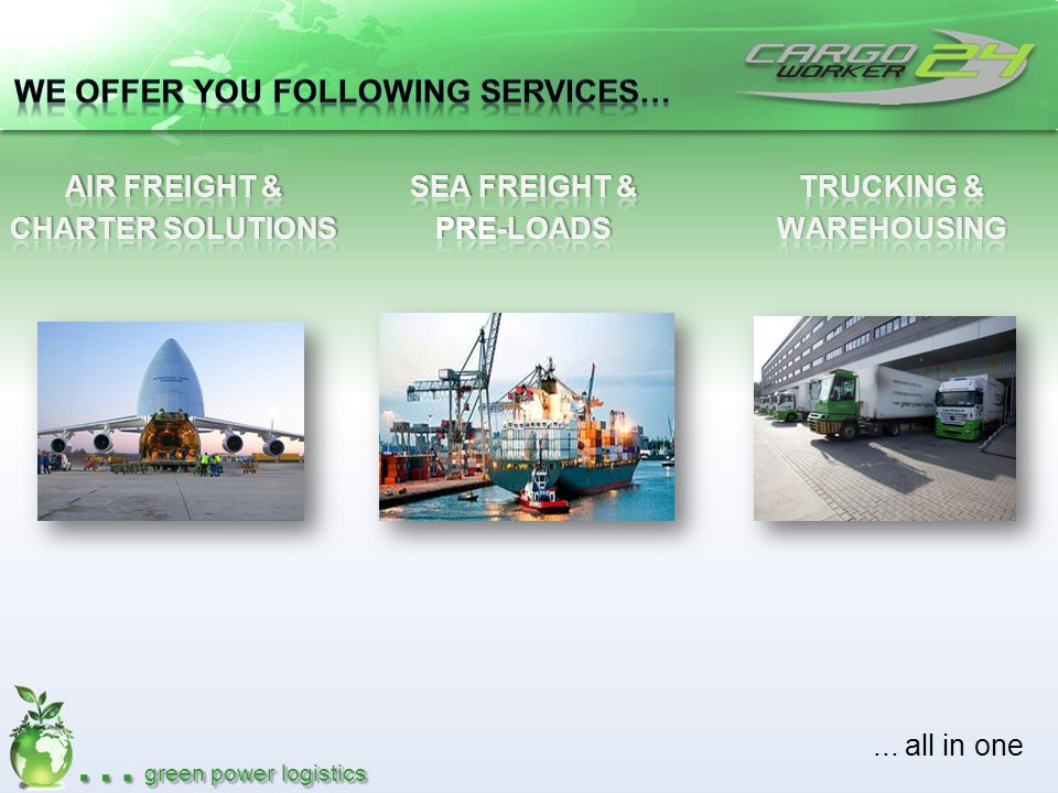 … green power logistics Pick up in EU Storage & handling Packaging / Labeling Export / Import Services Customs Clearance Road Feeder Service Import transactions in RUS Final customs clearance in RUS To door delivery in RUS Frankfurt Moskau St.