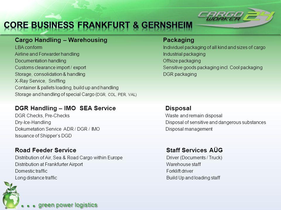 … green power logistics Cargo Handling – Warehousing LBA conform Airline and Forwarder handling Documentation handling Customs clearance import / expo