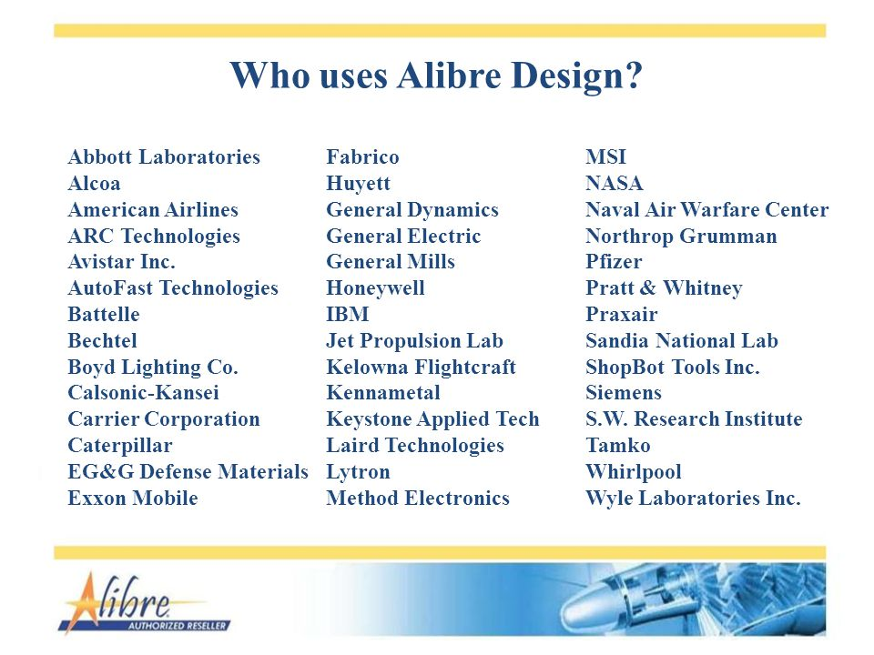 Who uses Alibre Design. Abbott Laboratories Alcoa American Airlines ARC Technologies Avistar Inc.