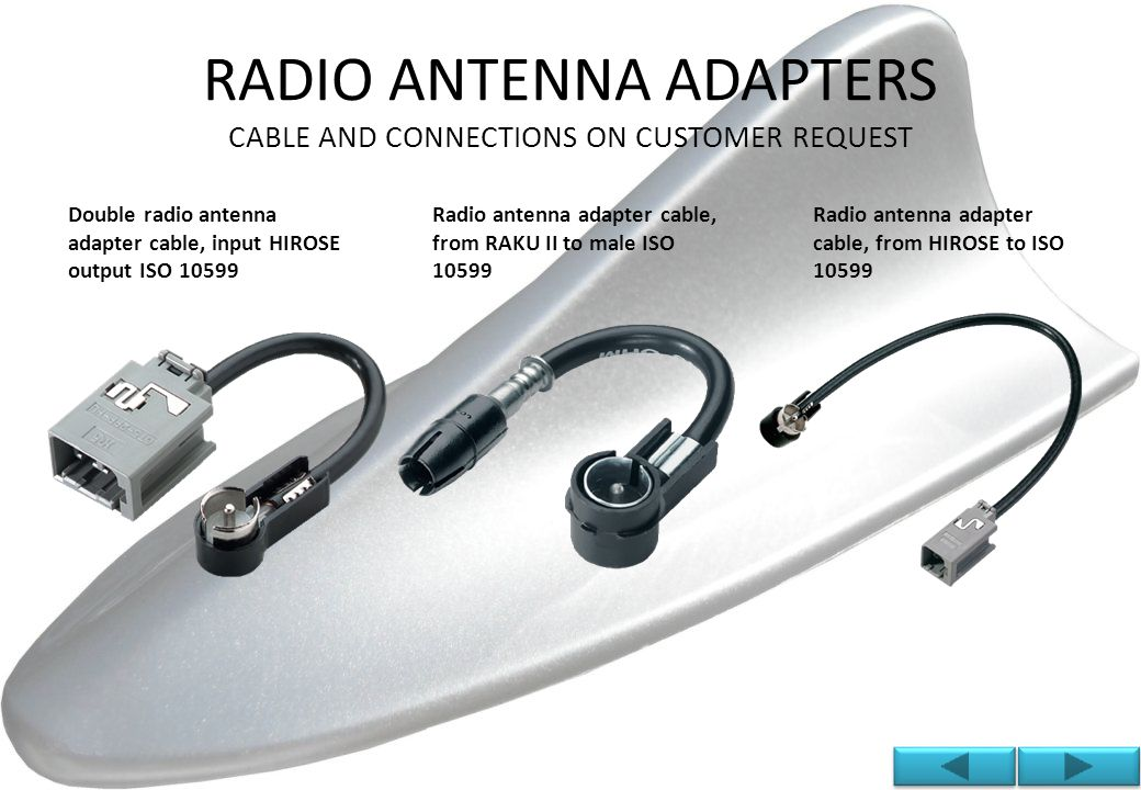 EXTENSION CABLES FOR RADIO / GPS / PHONE DESIGN AND PRODUCTION OF EXTENSIONS CABLES FOR SIGNAL TRANSPORT.