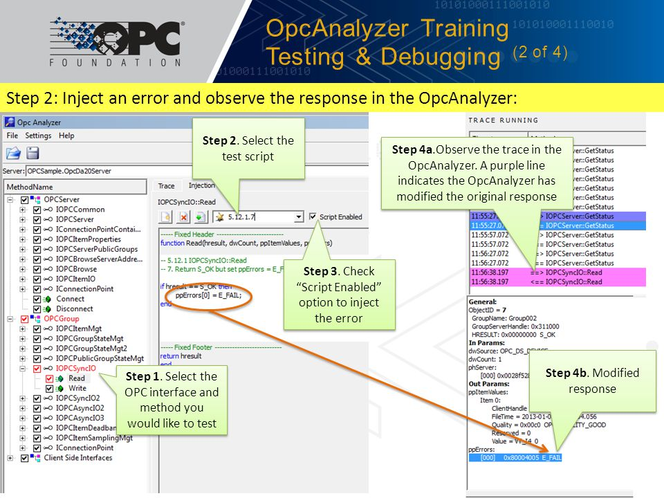 Step 2: Inject an error and observe the response in the OpcAnalyzer: OpcAnalyzer Training Testing & Debugging (2 of 4) 4/19/2012© 2012 OPC Foundation1