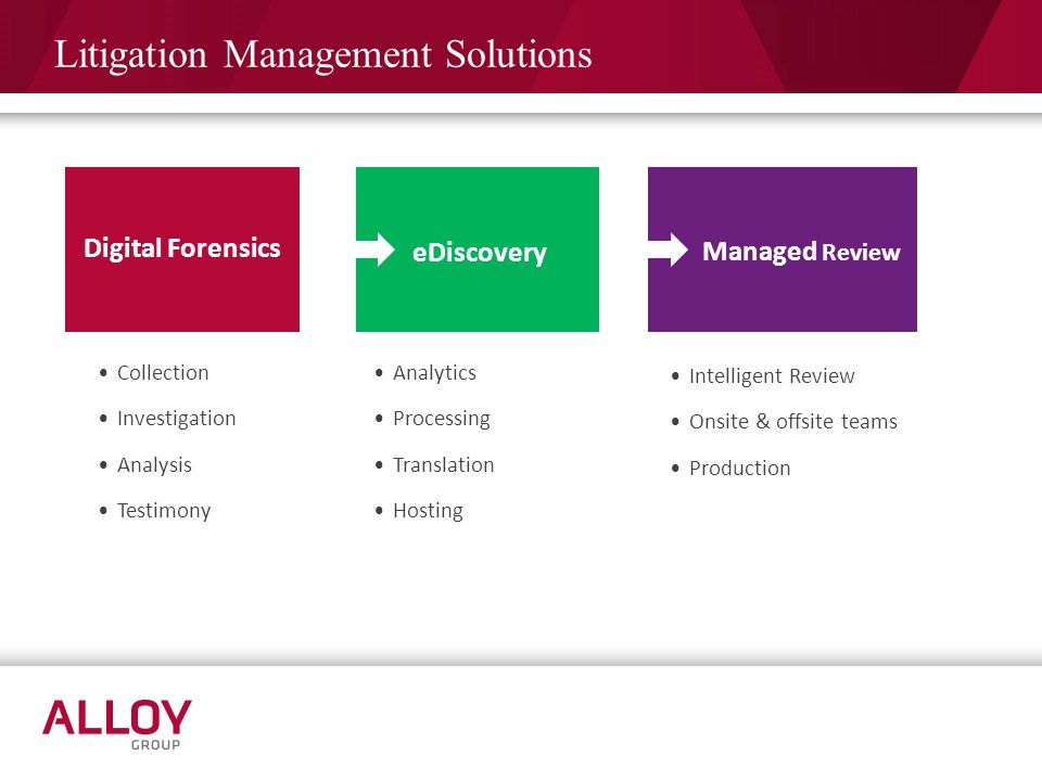 Litigation Management Solutions Digital Forensics eDiscovery Managed Review Collection Investigation Analysis Testimony Analytics Processing Translati