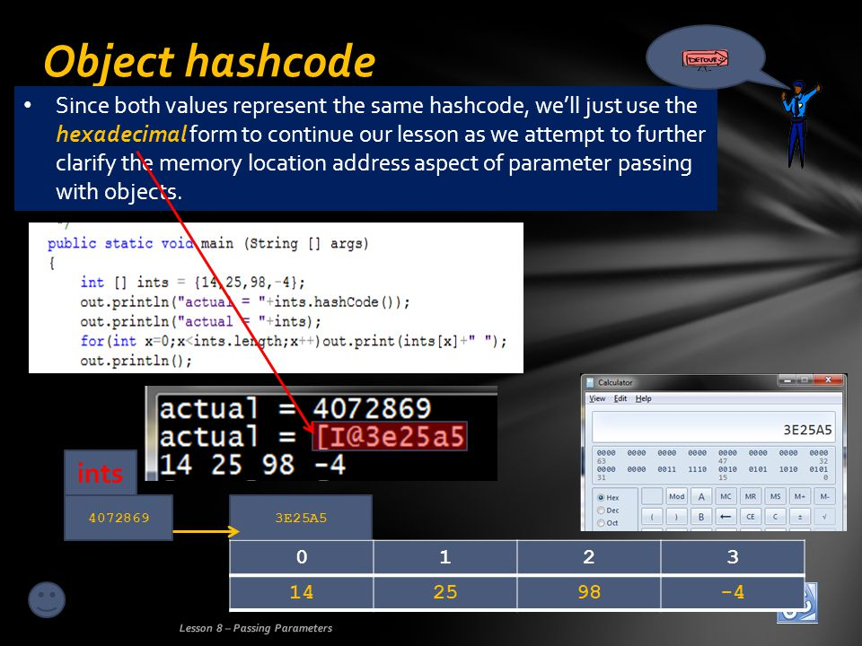 40728693E25A5 Object hashcode Lesson 8 – Passing Parameters 142598-4 0123 ints Since both values represent the same hashcode, well just use the hexadecimal form to continue our lesson as we attempt to further clarify the memory location address aspect of parameter passing with objects.