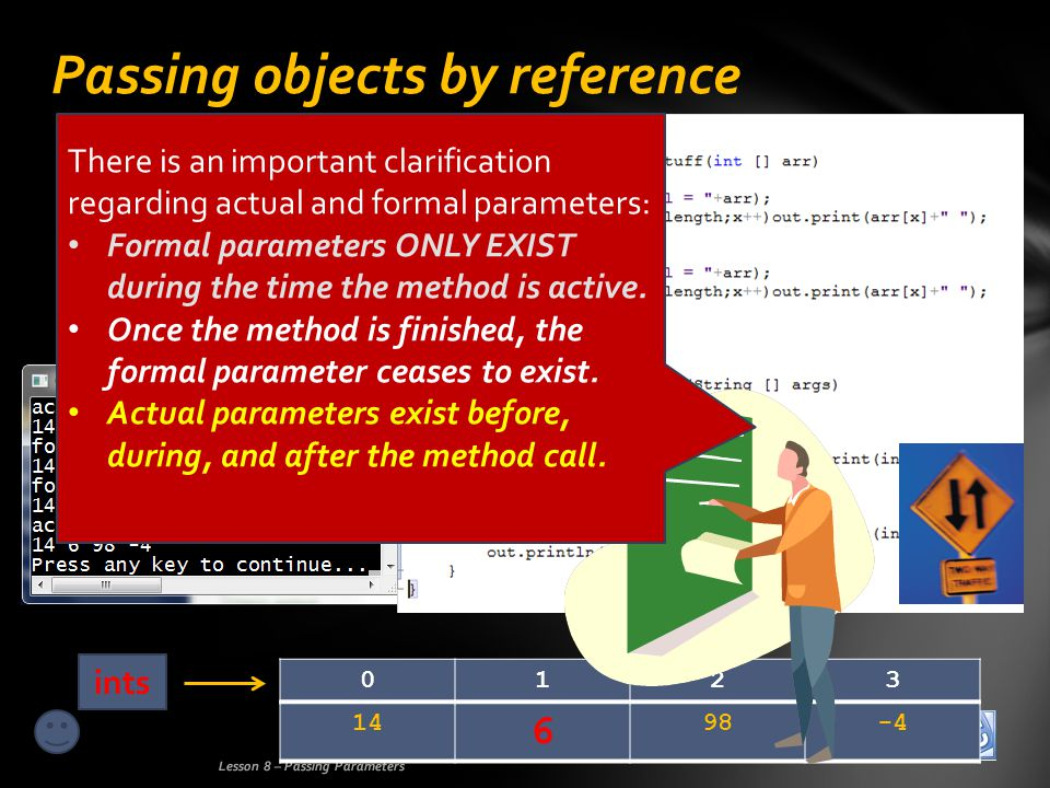 Passing objects by reference Lesson 8 – Passing Parameters 14 6 98-4 0123 ints There is an important clarification regarding actual and formal parameters: Formal parameters ONLY EXIST during the time the method is active.