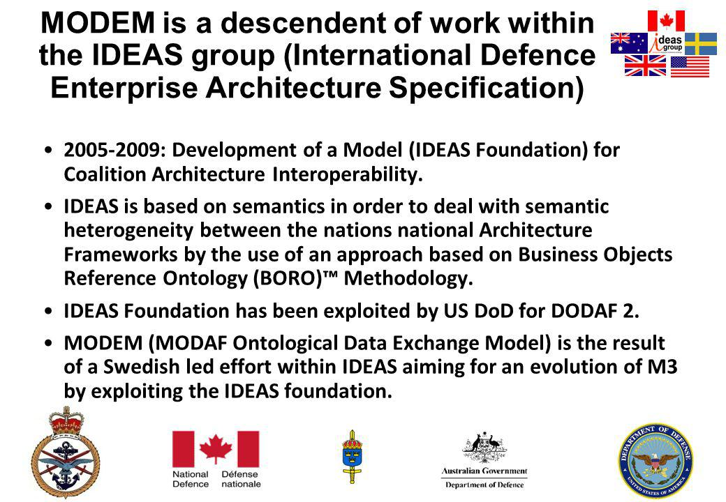 HEADQUARTERS MODEM is a descendent of work within the IDEAS group (International Defence Enterprise Architecture Specification) 2005-2009: Development of a Model (IDEAS Foundation) for Coalition Architecture Interoperability.