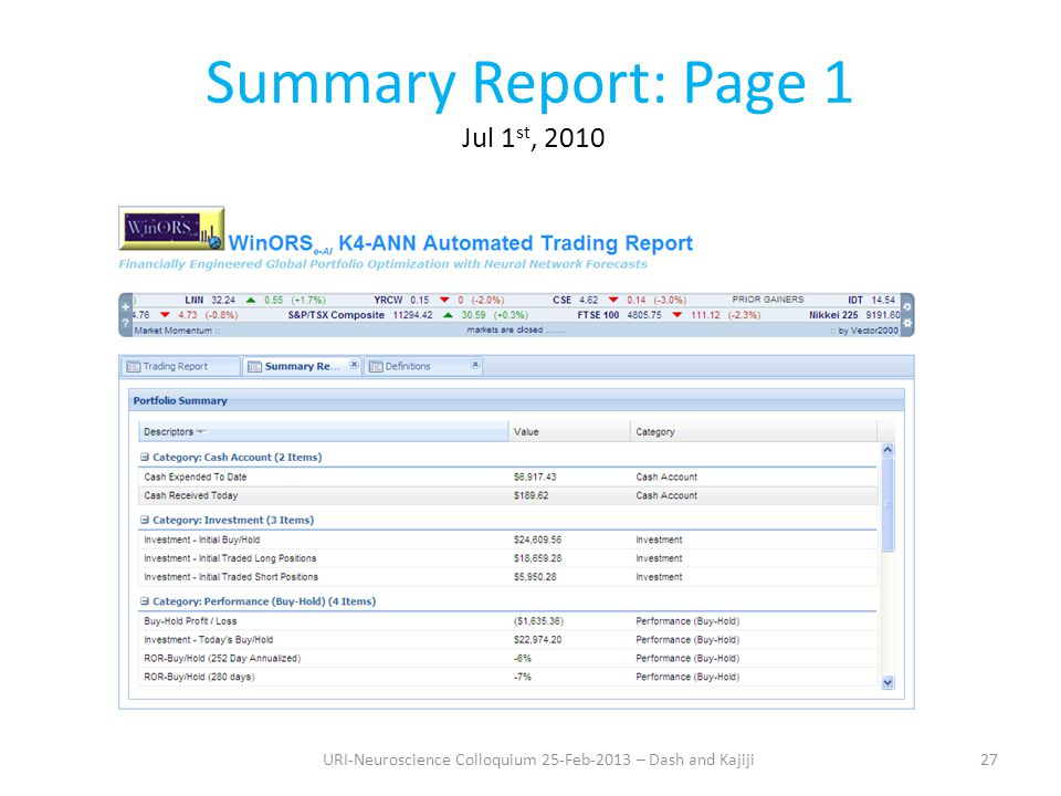 Summary Report: Page 1 Jul 1 st, 2010 27URI-Neuroscience Colloquium 25-Feb-2013 – Dash and Kajiji