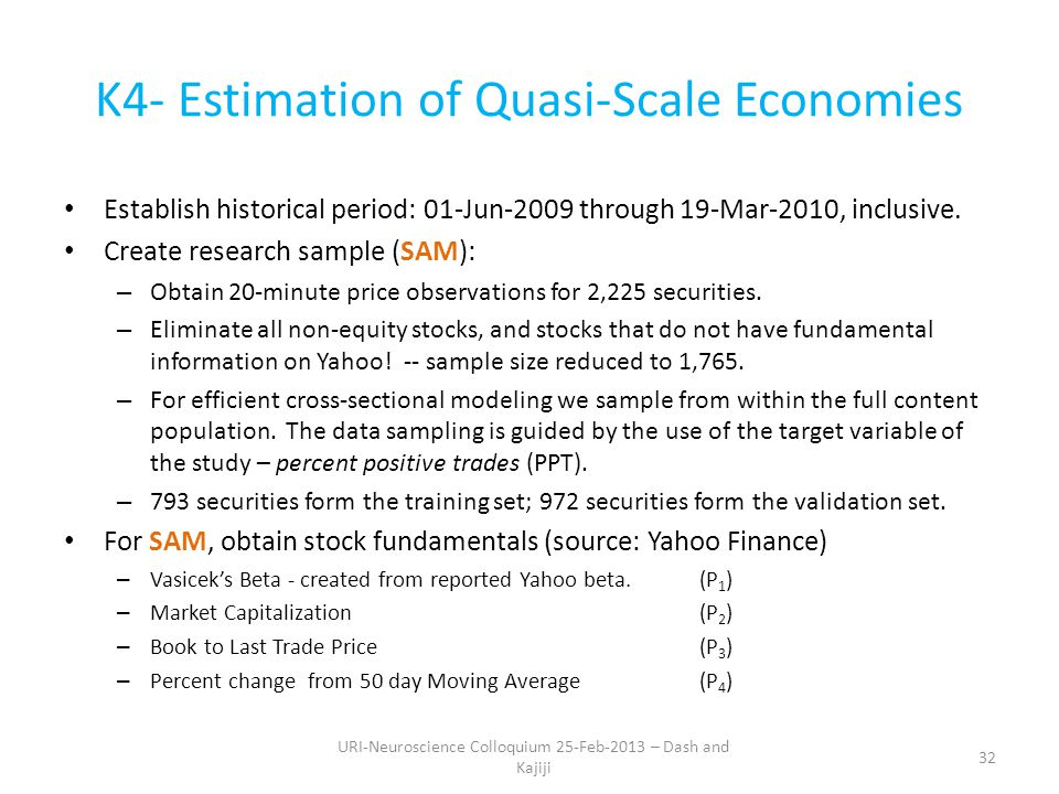 K4- Estimation of Quasi-Scale Economies Establish historical period: 01-Jun-2009 through 19-Mar-2010, inclusive.