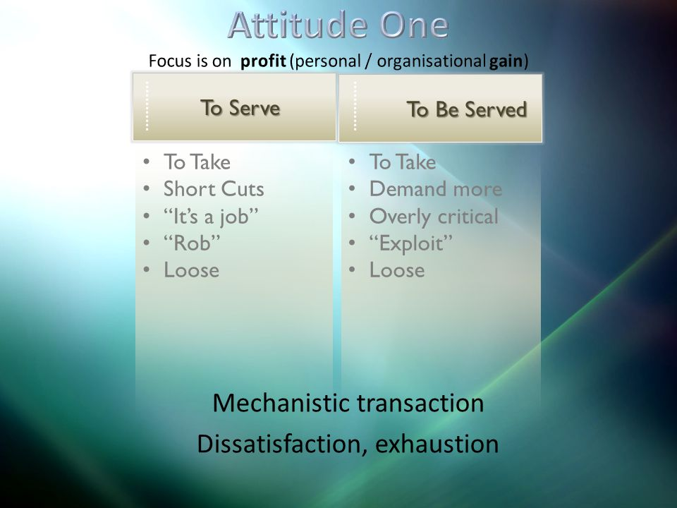 To Take Demand more Overly critical Exploit Loose To Take Short Cuts Its a job Rob Loose To Serve To Be Served Mechanistic transaction Dissatisfaction, exhaustion