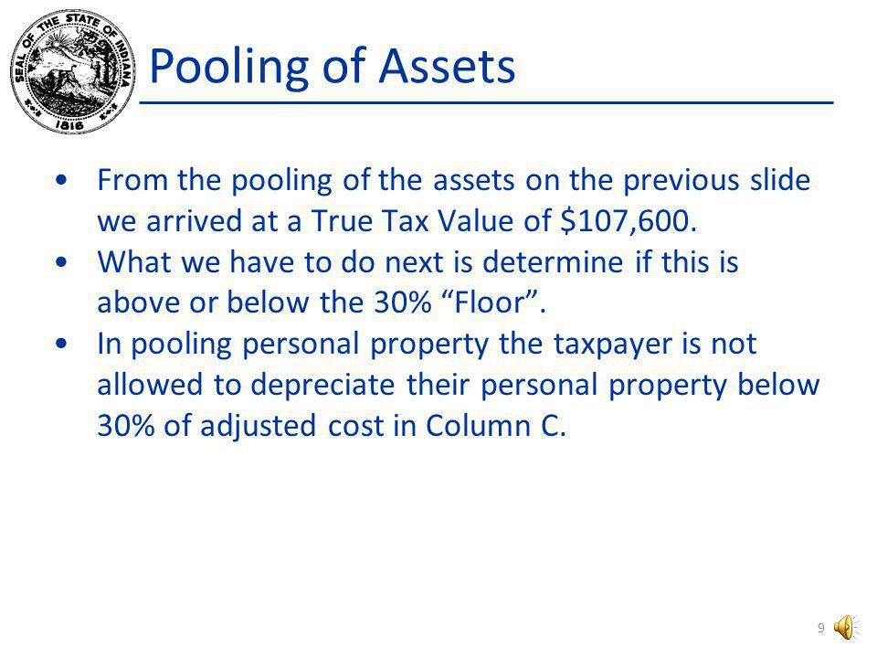 Pooling of Assets From the pooling of the assets on the previous slide we arrived at a True Tax Value of $107,600.