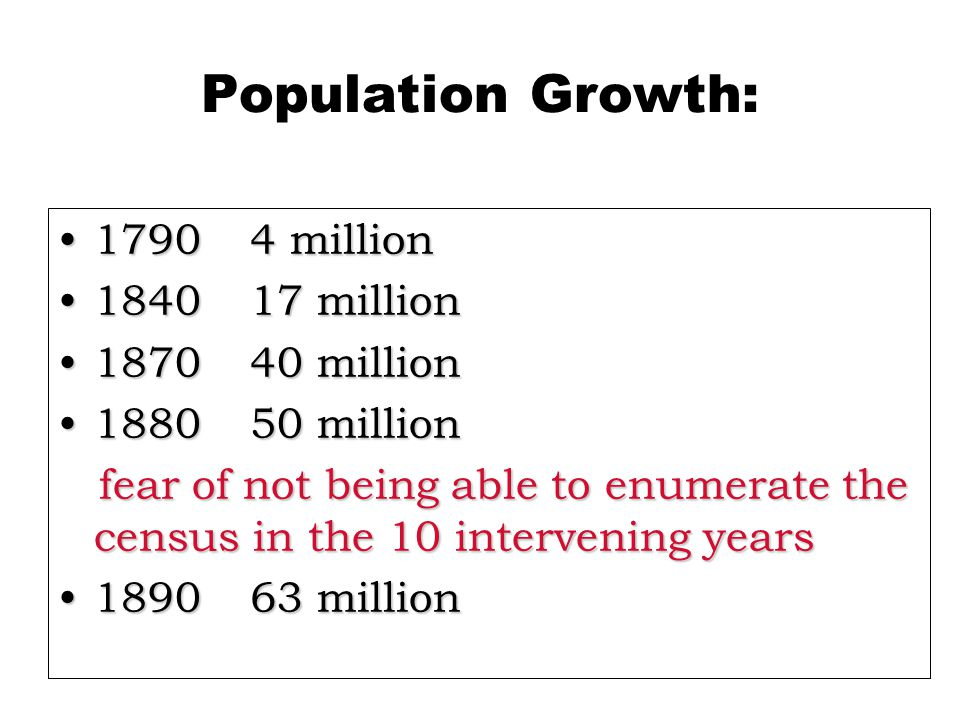 Population Growth: 17904 million17904 million 184017 million184017 million 187040 million187040 million 188050 million188050 million fear of not being able to enumerate the census in the 10 intervening years fear of not being able to enumerate the census in the 10 intervening years 189063 million189063 million