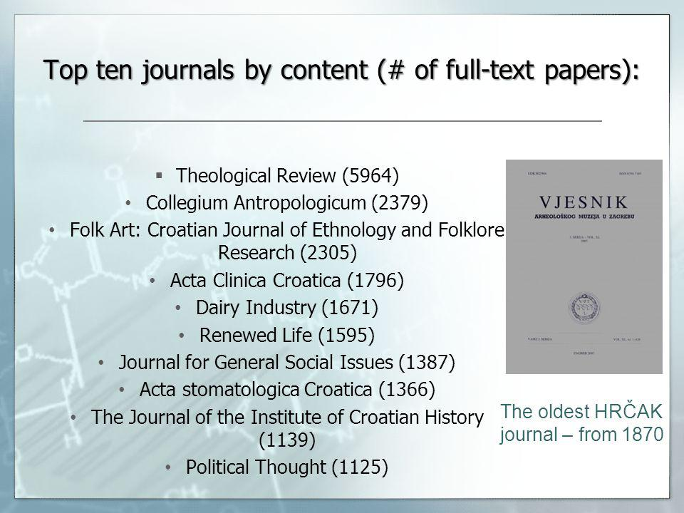 The oldest HRČAK journal – from 1870 Top ten journals by content (# of full-text papers): Theological Review (5964) Collegium Antropologicum (2379) Folk Art: Croatian Journal of Ethnology and Folklore Research (2305) Acta Clinica Croatica (1796) Dairy Industry (1671) Renewed Life (1595) Journal for General Social Issues (1387) Acta stomatologica Croatica (1366) The Journal of the Institute of Croatian History (1139) Political Thought (1125)