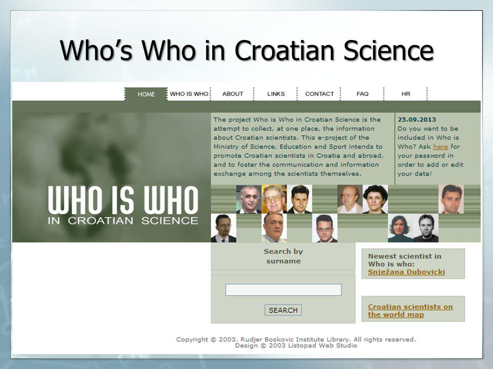 Whos Who in Croatian Science