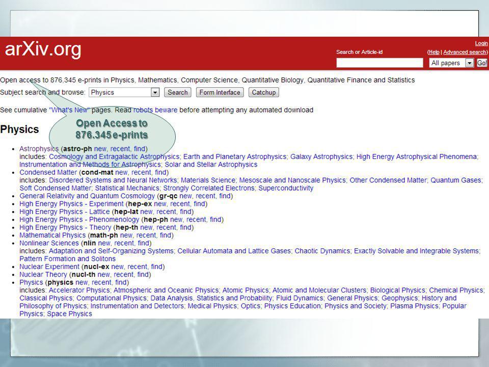 Open Access to 876.345 e-prints
