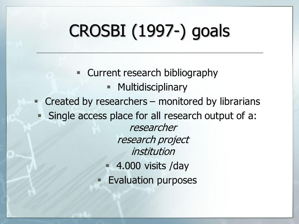 CROSBI (1997-) goals Current research bibliography Multidisciplinary Created by researchers – monitored by librarians Single access place for all research output of a: researcher research project institution 4.000 visits /day Evaluation purposes