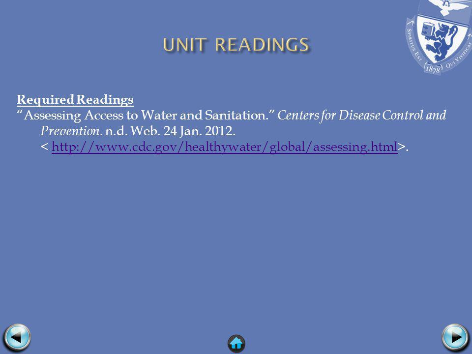 Required Readings Assessing Access to Water and Sanitation.