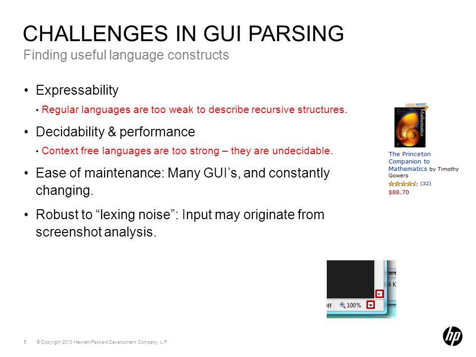 © Copyright 2010 Hewlett-Packard Development Company, L.P. 5 Finding useful language constructs CHALLENGES IN GUI PARSING Expressability Regular langu