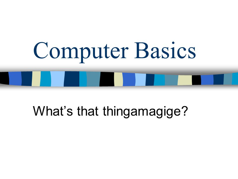 Computer Basics Whats that thingamagige?