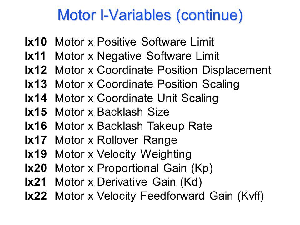 Ix10Motor x Positive Software Limit Ix11Motor x Negative Software Limit Ix12Motor x Coordinate Position Displacement Ix13Motor x Coordinate Position S