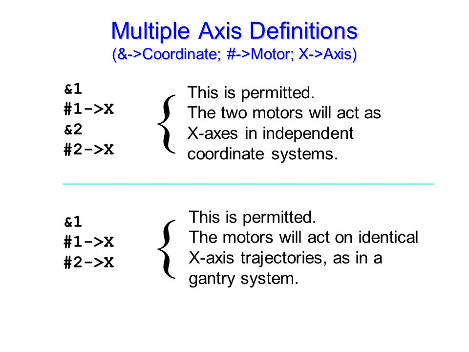&1 #1->X &2 #2->X &1 #1->X #2->X This is permitted. The two motors will act as X-axes in independent coordinate systems. { { Multiple Axis Definitions