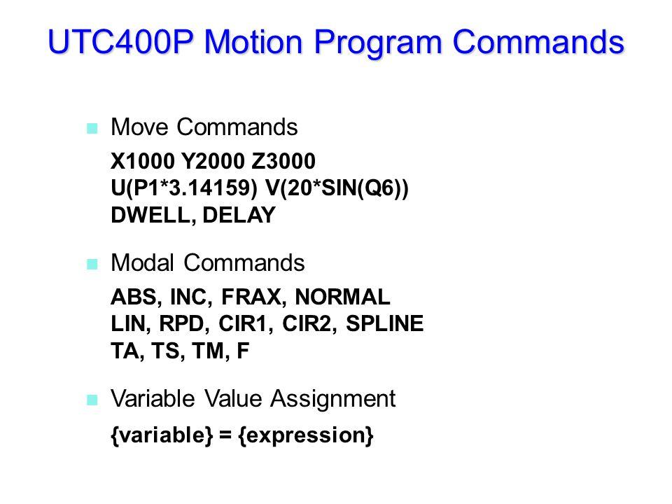 n Move Commands X1000 Y2000 Z3000 U(P1*3.14159) V(20*SIN(Q6)) DWELL, DELAY n Modal Commands ABS, INC, FRAX, NORMAL LIN, RPD, CIR1, CIR2, SPLINE TA, TS