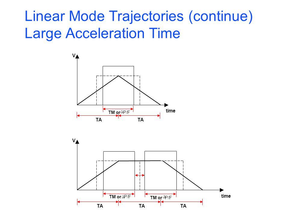 V time V TA TA TM or P/F TM orP/F TM orP/F Linear Mode Trajectories (continue) Large Acceleration Time