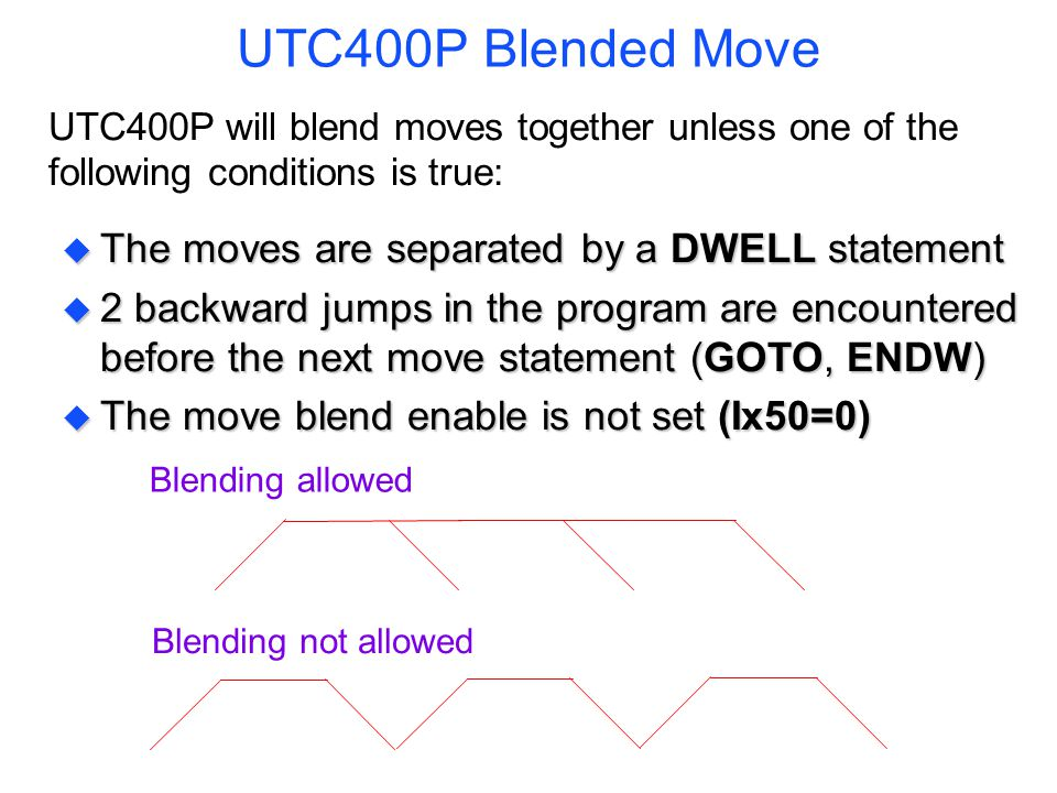 UTC400P Blended Move UTC400P will blend moves together unless one of the following conditions is true: u The moves are separated by a DWELL statement