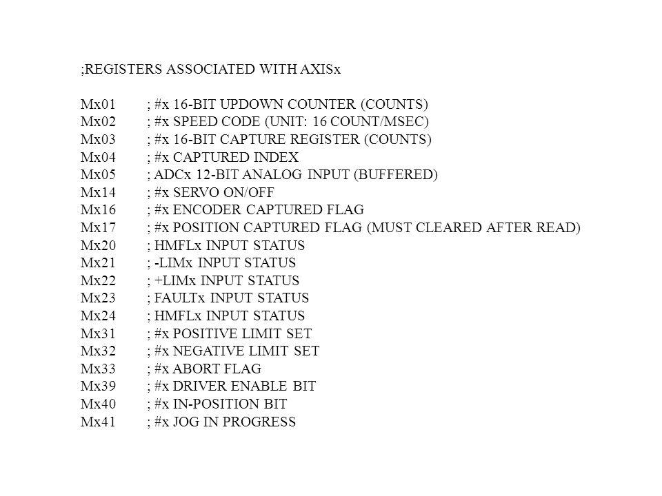 ;REGISTERS ASSOCIATED WITH AXISx Mx01; #x 16-BIT UPDOWN COUNTER (COUNTS) Mx02; #x SPEED CODE (UNIT: 16 COUNT/MSEC) Mx03; #x 16-BIT CAPTURE REGISTER (C