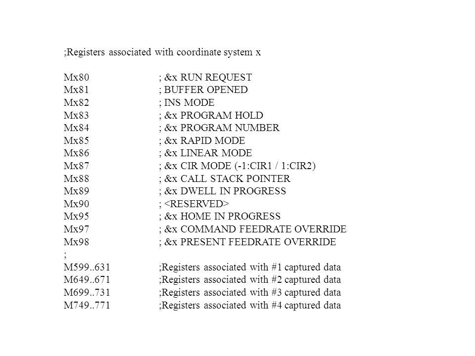 ;Registers associated with coordinate system x Mx80; &x RUN REQUEST Mx81; BUFFER OPENED Mx82; INS MODE Mx83; &x PROGRAM HOLD Mx84; &x PROGRAM NUMBER M