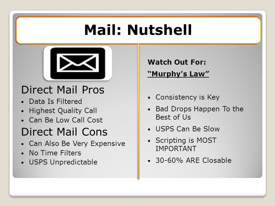Direct Mail Pros Data Is Filtered Highest Quality Call Can Be Low Call Cost Direct Mail Cons Can Also Be Very Expensive No Time Filters USPS Unpredictable Mail: Nutshell Watch Out For: Murphy s Law Consistency is Key Bad Drops Happen To the Best of Us USPS Can Be Slow Scripting is MOST IMPORTANT 30-60% ARE Closable