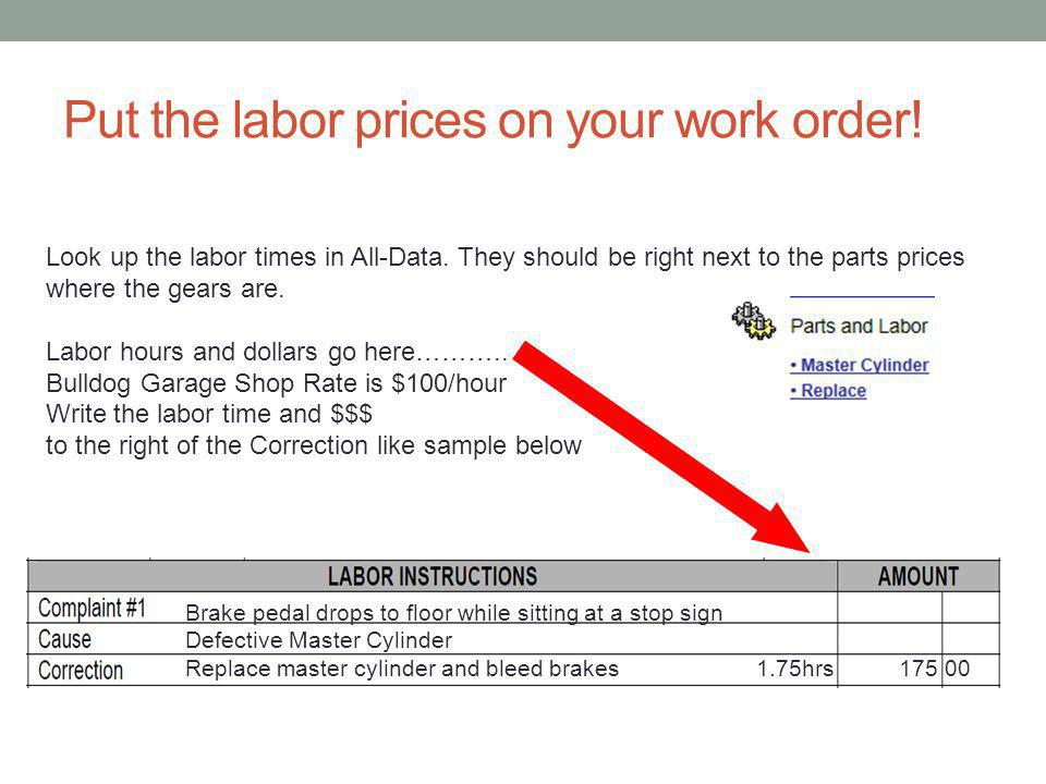 Put the labor prices on your work order. Look up the labor times in All-Data.