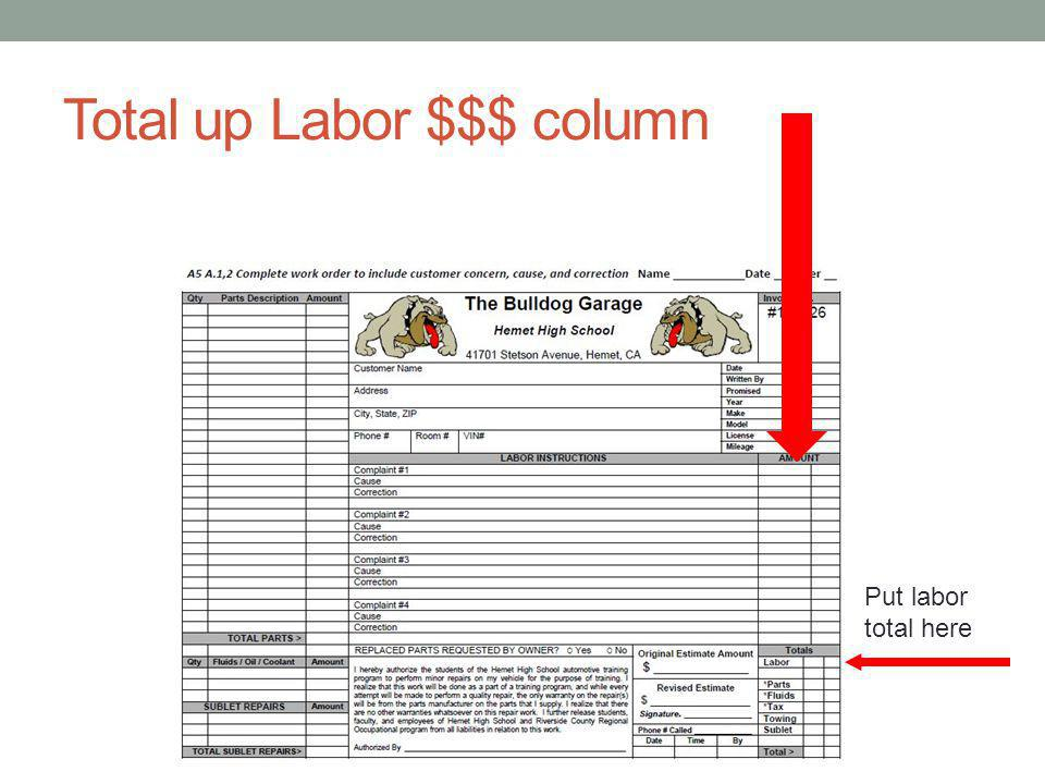 Total up Labor $$$ column Put labor total here