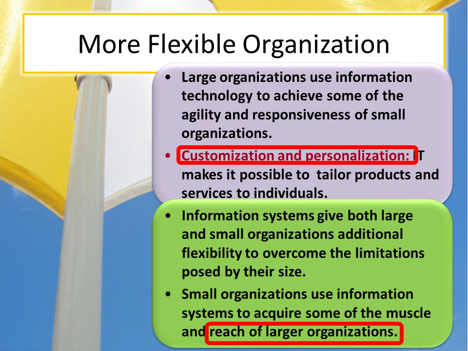More Flexible Organization Large organizations use information technology to achieve some of the agility and responsiveness of small organizations. Cu
