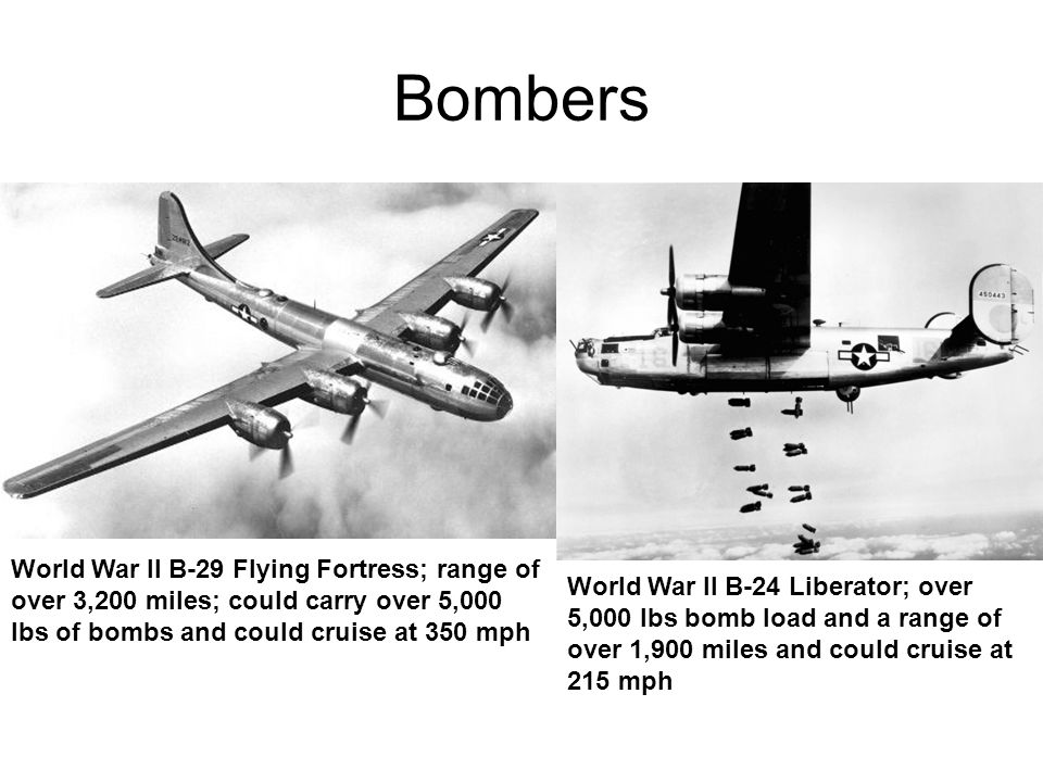 Bombers World War II B-29 Flying Fortress; range of over 3,200 miles; could carry over 5,000 lbs of bombs and could cruise at 350 mph World War II B-24 Liberator; over 5,000 lbs bomb load and a range of over 1,900 miles and could cruise at 215 mph