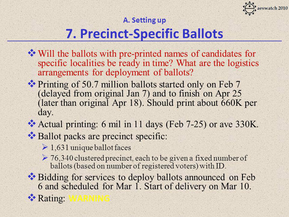 A. Setting up 7. Precinct-Specific Ballots Will the ballots with pre-printed names of candidates for specific localities be ready in time? What are th