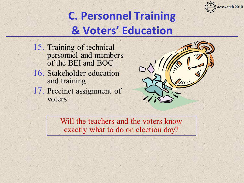 C. Personnel Training & Voters Education 15.