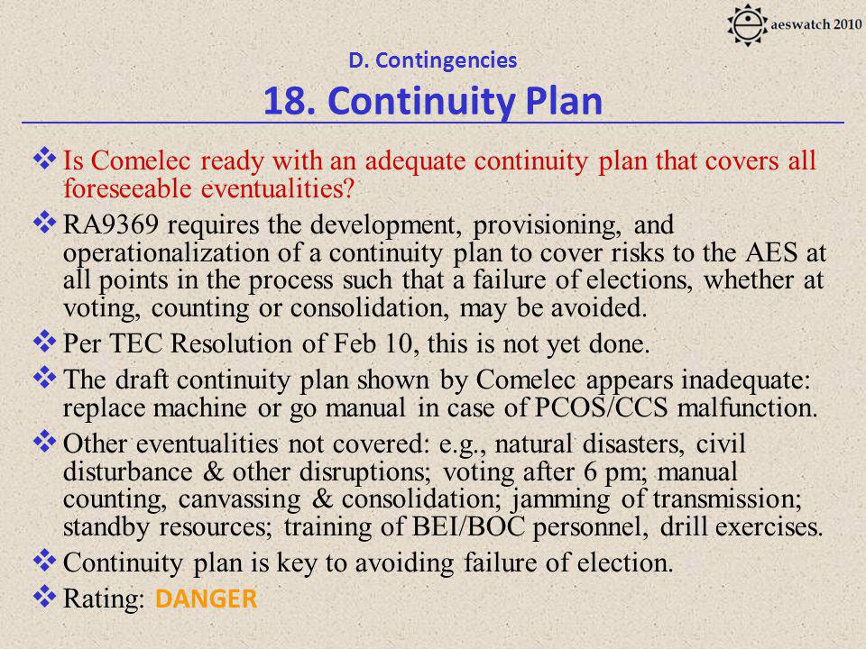 D. Contingencies 18.