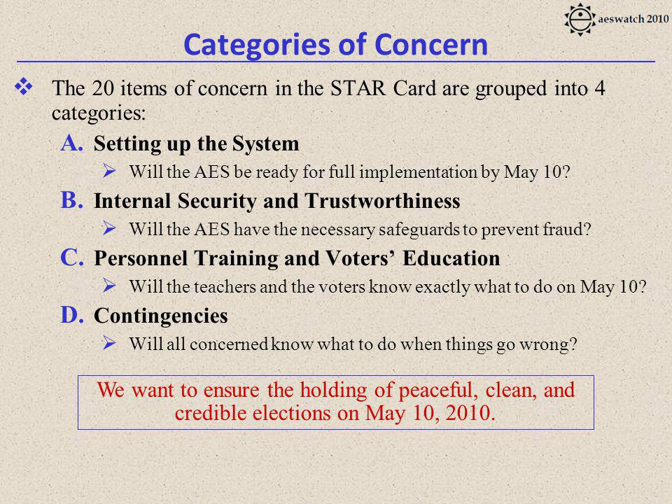 Categories of Concern The 20 items of concern in the STAR Card are grouped into 4 categories: A.